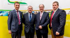 Pictured at the Teagasc National Dairy Conference 2017 are Tom O'Dwyer, Head of Dairy Knowledge Transfer, Teagasc; Professor Gerry Boyle, Teagasc Director, Sean Molloy, Glanbia and Kevin Twomey, Chairman of Dairy Stakeholders.
