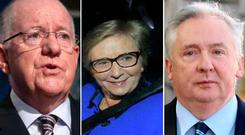 Justice in crisis: (L-R) Minister Charlie Flanagan, former Tanaiste Frances Fitzgerald and secretary general Noel Waters