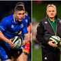 Jordan Larmour (left), Joe Schmidt (centre) and Peter O'Mahony (right).