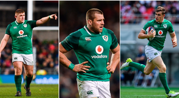 Tadhg Furlong (left), CJ Stander (centre) and Garry Ringrose (right).