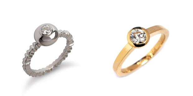 Twist on traditional - Left: Bamboo collection engagement ring by Deirdre O'Donnell | Right: Diamond Stockholm ring in yellow gold from Stonechat