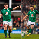 Tadhg Furlong (left), Johnny Sexton (centre) and Conor Murray (right).