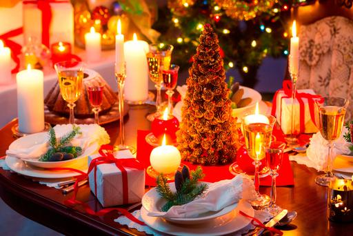 Traditionally decorated christmas table