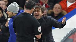 Chelsea manager Antonio Conte lost his cool with referee Neil Swarbrick