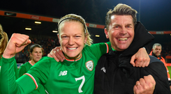 Diane Caldwell celebrates with head coach Colin Bell after Tuesday's match in Nijmegen. Photo: Sportsfile