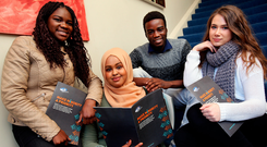 Jennifer Samuel (17), Samiya Mooge (23), Emmanuel Samuel (21) and Elina Feldmane (17) at the launch of the report. Photo: Steve Humphreys