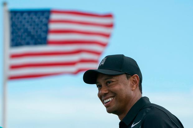 Tiger Woods smiles during Tuesday's practice round of the Hero World Challenge golf tournament at Albany. Photo: USA TODAY Sports