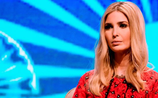 Advisor to the US President Ivanka Trump looks on during a panel discussion at the Global Entrepreneurship Summit at the Hyderabad convention centre (HICC) in Hyderabad on November 29, 2017