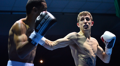 25 February 2017; Eric Donovan, right, in action against Stefan Nicolae during their bout in the National Stadium in Dublin. Photo by Ramsey Cardy/Sportsfile