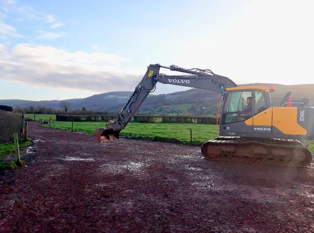 Contractor John Larkin resurfacing a farm roadway for Jimmy Hennessy at Killeady, Co Limerick