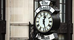 A general view of a clock on the side of Northcliffe House, where the offices of British newspapers the Daily Mail and Mail On Sunday are located. Photo: Getty Images