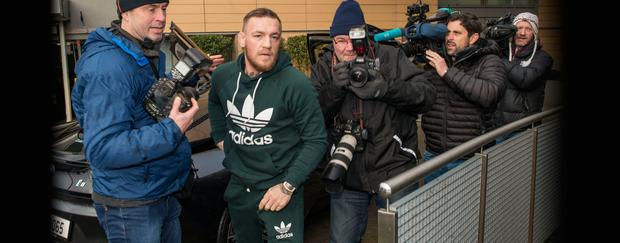 Conor McGregor arrives at court yesterday.
