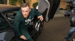 Conor McGregor arrives at Blanchardstown District Court yesterday. Photo: Doug O'Connor