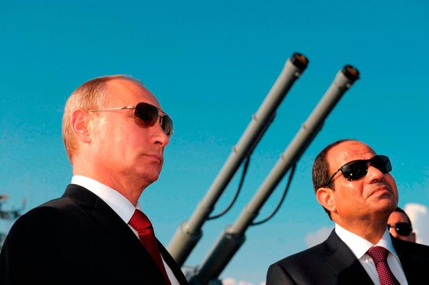 Russian President Vladimir Putin, left, pictured in Sochi, Russia with Egyptian President Abdel-Fattah el-Sissi in August. Photo: AP