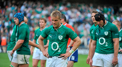 20 August 2011; A dejected Luke Fitzgerald, Ireland, leaves the pitch after the game. Rugby World Cup Warm-up game, Ireland v France, Aviva Stadium, Lansdowne Road, Dublin. Picture credit: Brendan Moran / SPORTSFILE