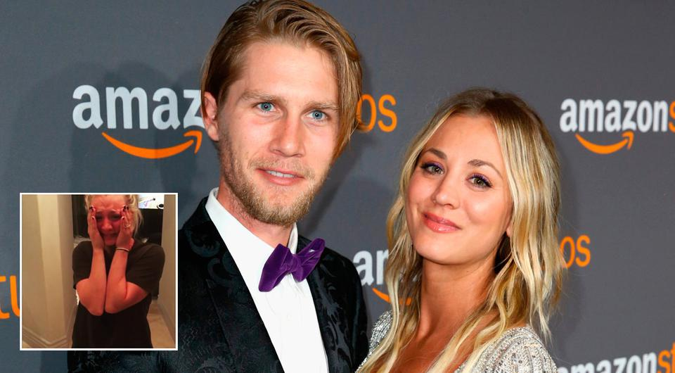 Actress Kaley Cuoco (R) and Karl Cook attends Amazon Studios Golden Globes Celebration at The Beverly Hilton Hotel on January 8, 2017 in Beverly Hills, California. (Photo by Joe Scarnici/Getty Images for Amazon) | INSET: Photo via Instagram