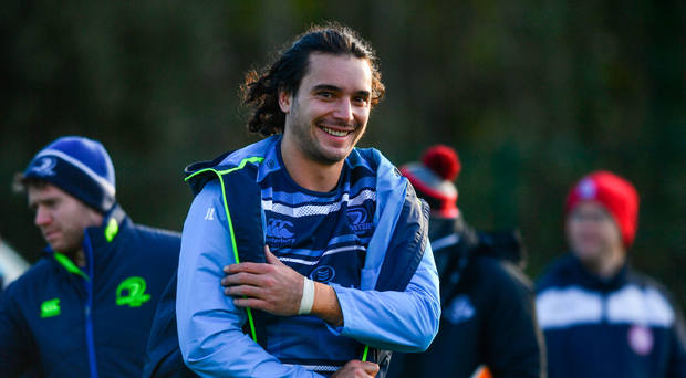 28 November 2017; James Lowe during Leinster rugby squad training at UCD in Dublin. Photo by Ramsey Cardy/Sportsfile