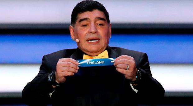 World Cup 2018 draw ambassador Diego Maradona pulls England out the pot to be included in group G