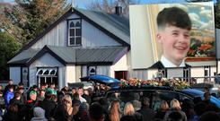 Mourners at the funeral of Dane Loakman (Inset)
