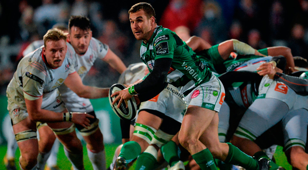 Tommaso Allan of Benetton in action against Kieran Treadwell of Ulster. Photo by Oliver McVeigh/Sportsfile