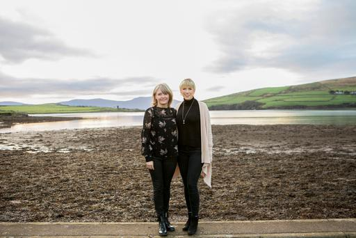 Filmmaker Emer Reynolds and musician Muireann Nic Amhlaoibh in Dingle, Co Kerry, yesterday. Photo: Fiona Morgan