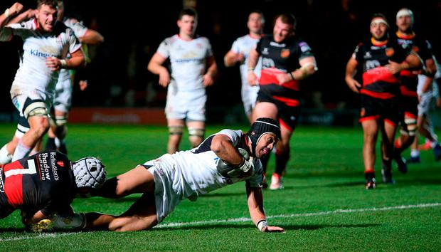 Christian Lealiifano of Ulster goes over to score his side's try despite the tackle from Ollie Griffiths of Dragons, to draw his side level in the last seconds of the match, during the Guinness PRO14 Round 10 match between Dragons and Ulster at Rodney Parade in Newport, Wales. Photo by Chris Fairweather/Sportsfile