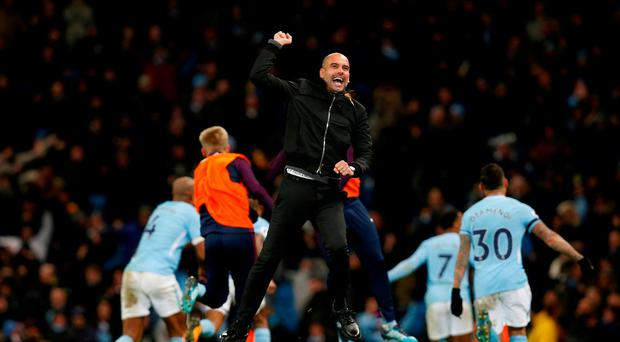 Manchester City manager Pep Guardiola celebrates