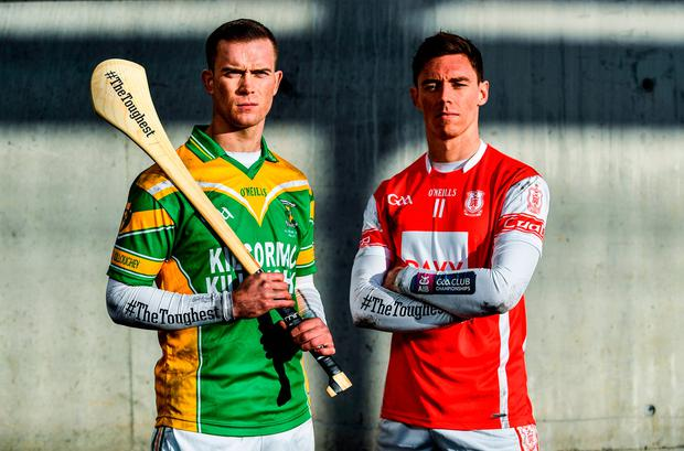 Cuala's Paul Schutte of Cuala (r) is pictured alongside Kilcormac/Killoghey's Dan Currams ahead of tomorrow's AIB GAA Leinster Senior Hurling Club Championship Final. Photo by Sam Barnes/Sportsfile