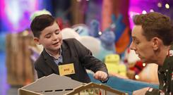 Kyle Carty, age 7, fromCollinstown, Co. Westmeath pictured on the RTE One Late Late Toy Show 2017.