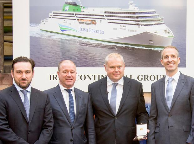 David Ledwidge, CFO of the Irish Continental Group Plc; Rüdiger Fuchs, CEO of shipbuilders Flensburger Schiffbau-Gesellschaft; Irish Ferries managing director Andrew Sheen; and Captain Brian McKenna in Germany where the new WB Yeats cruise ferry is currently being built