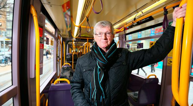 Joe Dowling who is a Community worker with HOPE in Dublin's North Inner City, pictured travelling on the new LUAS Cross City Line. Photo: Frank Mc Grath