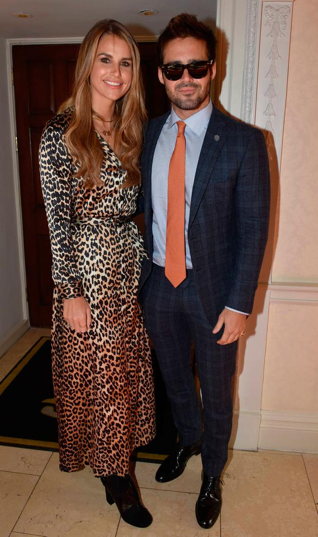 Vogue Williams & Spencer Matthews attend The Marketing Society Annual Christmas Lunch and Research Excellence Awards 2017 at The Shelbourne Hotel
