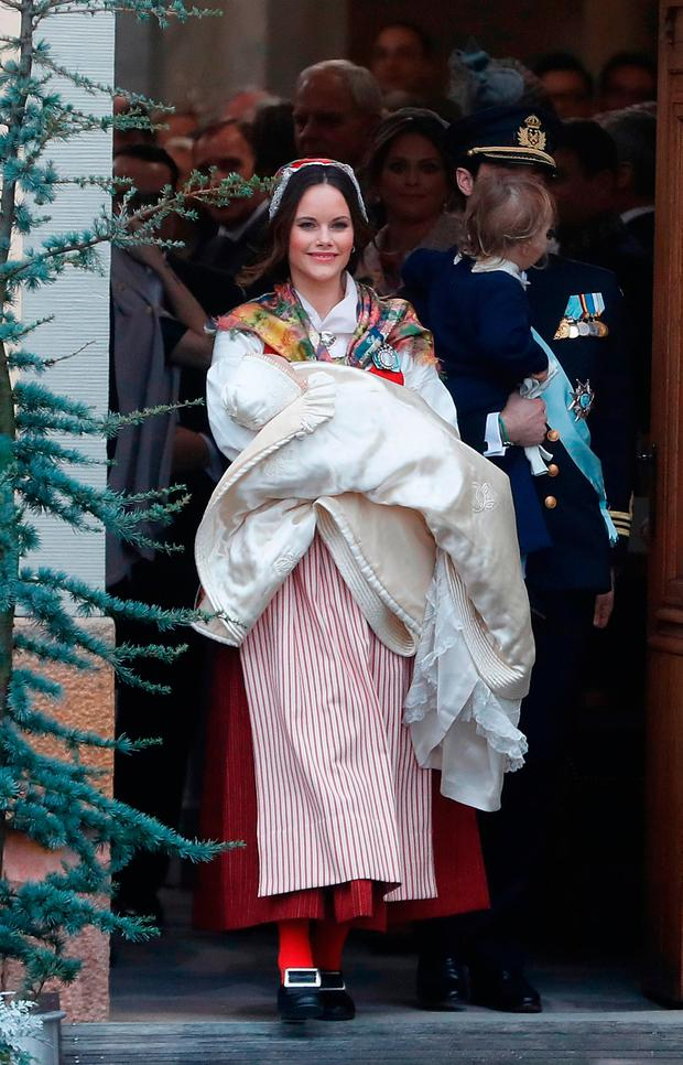 Prince Gabriel of Sweden, Duke of Dalarna held by Princess Sofia of Sweden leaves the chapel after the christening of Prince Gabriel of Sweden at Drottningholm Palace Chapel on December 1, 2017 in Stockholm, Sweden. (Photo by Michael Campanella/Michael Campanella/Getty Images)