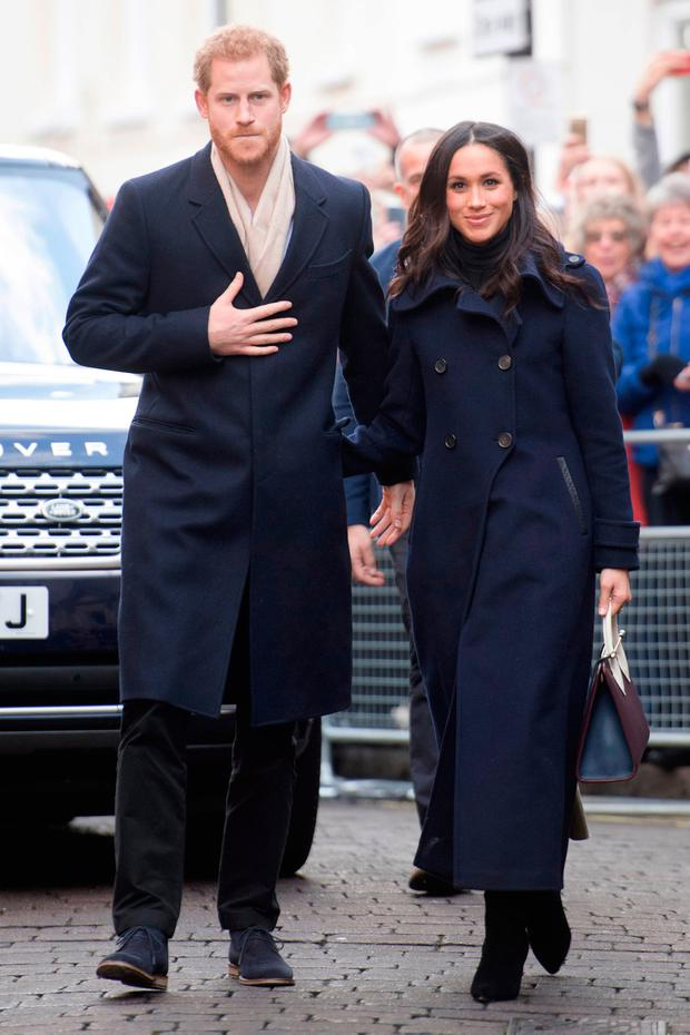 Prince Harry and his fiancee, US actress Meghan Markle, visit Nottingham for their first official public engagement together on December 1, 2017 in Nottingham, England