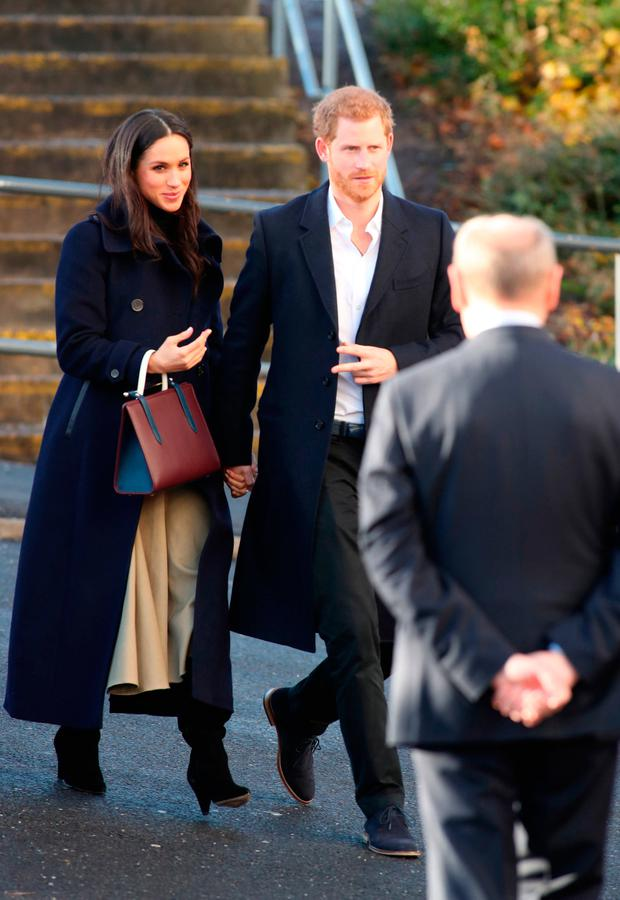 Prince Harry and Meghan Markle arriving at the Nottingham Academy in Nottingham, during their first official engagement together