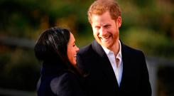 Prince Harry and his fiancee, US actress Meghan Markle, visit the Nottingham Academy as part of their first official public engagements together on December 1, 2017 in Nottingham, England