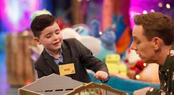 Kyle Carty, age 7, fromCollinstown, Co. Westmeath pictured on the RTE One Late Late Toy Show 2017, demonstrating toys with presenter Ryan Tubridy. Picture Andres Poveda / RTE