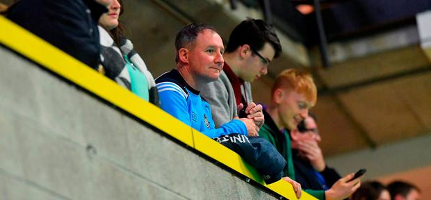 Dublin football manager Jim Gavin amongst the supporters during the Basketball Ireland Men's Superleague match between UCD Marian and Eanna at UCD Sports Centre in Dublin. Photo by Brendan Moran/Sportsfile