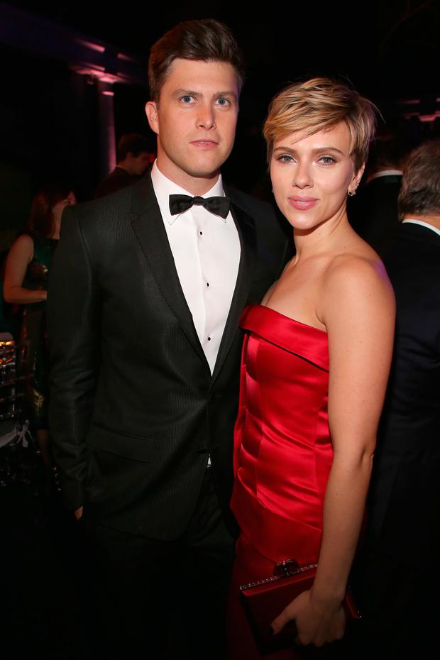 Colin Jost and Scarlett Johansson attends The 2017 Museum Gala at American Museum of Natural History on November 30, 2017 in New York City. (Photo by Sylvain Gaboury/Patrick McMullan via Getty Images)