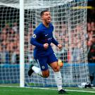 Chelsea's Eden Hazard celebrates scoring his side's first goal