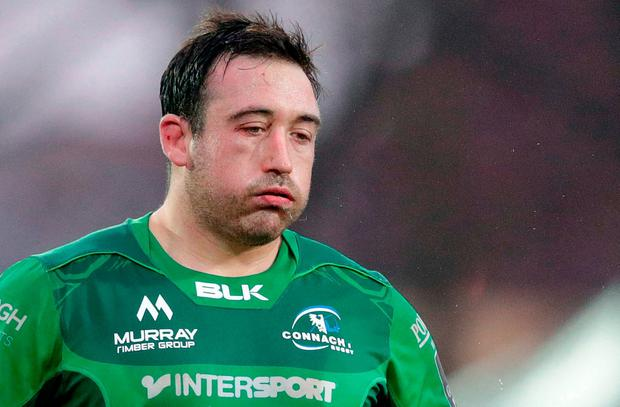 Dennis Buckley of Connacht dejected after the Guinness Pro14 Round 10 match between Zebre and Connacht at Stadio Lanfranchi in Parma, Italy. Photo by Roberto Bregani/Sportsfile