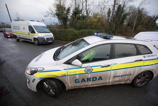 Gardaí at the scene in Walterstown Farm in Dunboyne, investigating the circumstances surrounding the discovery of a body of a man in his 20s today. Picture by Fergal Phillips