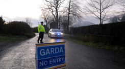 Members of the gardai at the scene at Walterstown, near Dunboyne where the body of Caine McCormack-Kirwan was discovered Photo: Eamonn Farrell/RollingNews.ie