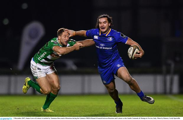 James Lowe of Leinster is tackled by Tommaso Benvenuti of Benetton during the Guinness PRO14 Round 10 match between Benetton and Leinster at the Stadio Comunale di Monigo in Treviso, Italy. Photo by Ramsey Cardy/Sportsfile