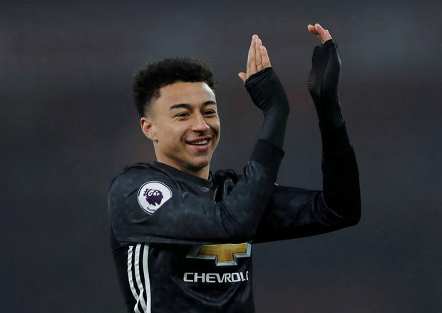 Manchester United's Jesse Lingard celebrates after the match REUTERS/Eddie Keogh