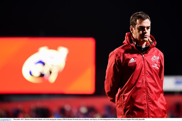 2 December 2017; Munster head coach Johann van Graan during the Guinness PRO14 Round 10 match between Munster and Ospreys at Irish Independent Park in Cork. Photo by Stephen McCarthy/Sportsfile