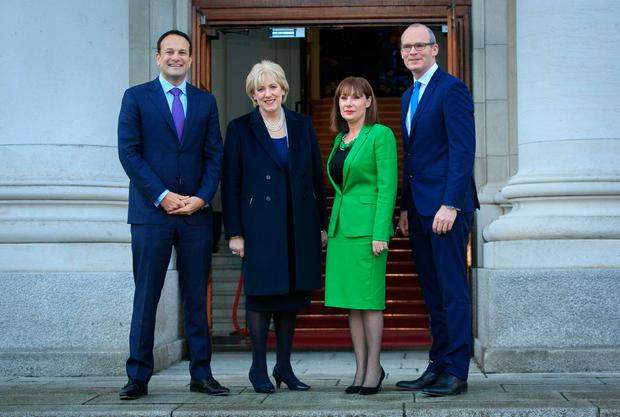 Reshuffle: Taoiseach Leo Varadkar with newly appointed ministers Heather Humphreys and Josepha Madigan, plus new Tanaiste Simon Coveney outside Government Buildings, Dublin Photo: Gareth Chaney Collins