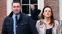 Disclosures Tribunal: Garda Keith Harrison and his partner Marisa Simms arrive at Dublin Castle in September Photo: Stephen Collins/Collins Photos