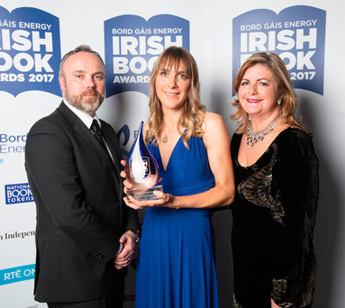 Sunday Independent Editor Cormac Bourke with Ruth Fitzmaurice, winner of the Sunday Independent Newcomer of the Year, and Sunday Independent Books Editor Madeleine Keane Photo: Patrick Bolger Photography