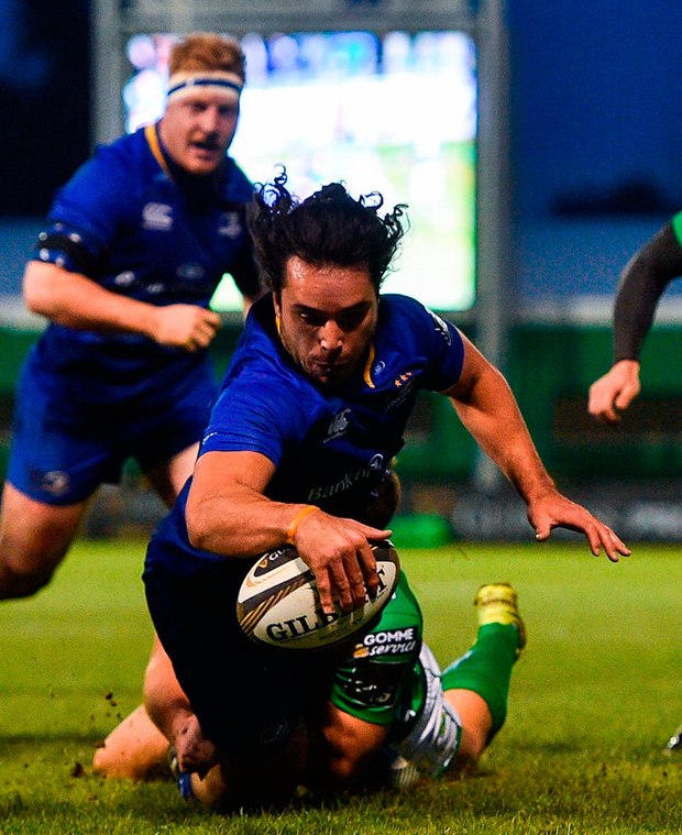 Leinster's James Lowe dives over to score his side's first try against Benetton. Photo: Ramsey Cardy/Sportsfile